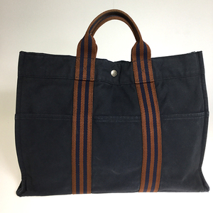 Hermes Fourre Tout MM Unisex Canvas Tote Bag Navy Brown