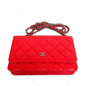 Auth Chanel  Matrasse Chain Wallet Pink