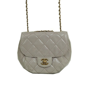 Auth Chanel Round Chain Bag Ivory