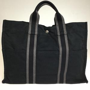 エルメス(Hermes) フール・トゥ MM ユニセックス キャンバス トートバッグ グレー ブラック