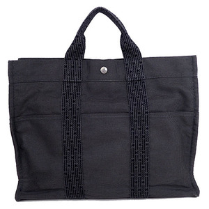 Auth Hermes Her Line Canvas Tote Bag