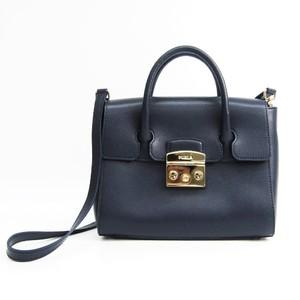 Furla Metropolis S Satchel Women's Leather Handbag Navy