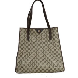 a4d432535d0003 Auth Gucci GG Plus Women's PVC,Leather Tote Bag Beige Brown