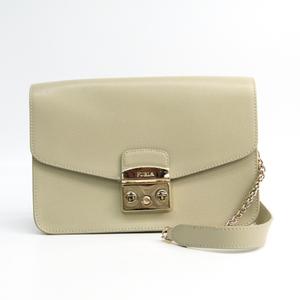 Furla Metropolis Women's Leather Shoulder Bag Light Beige