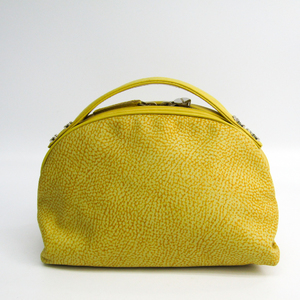 Borbonese Birds Eye Women's Suede,Leather Handbag Yellow