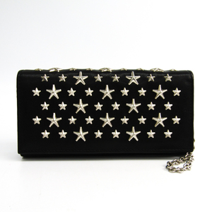 Jimmy Choo Nikita Women's Leather Studded Chain/Shoulder Wallet Black