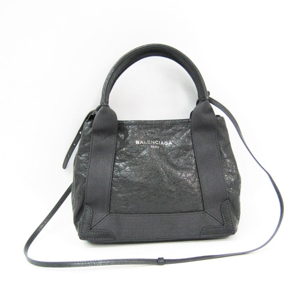 e1b1d816e61 Balenciaga Navy Cabas XS 390346 Women's Leather Handbag Dark Gray ...
