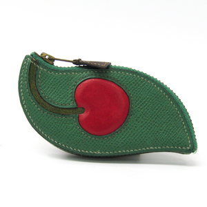 Hermes Cherry Women's Courchevel Leather Coin Purse/coin Case Green,Red