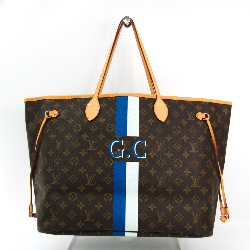 Details about Louis Vuitton Mon Monogram Neverfull GM M40157 Women s Tote  Bag Blue 1fc4132f8c