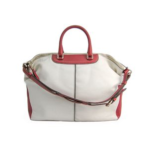 TODS Hand bag Leather Ivory/Brown