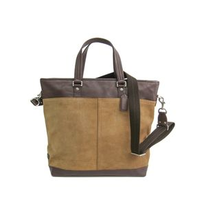 COACH Camden Suede Draft Tote Bag Leather Mahogany/Silver 70420