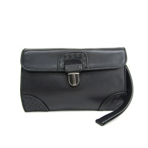 BOTTEGA VENETA Clutch Bag Intrecciato Calfskin Black 145186