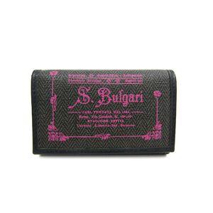 ブルガリ(Bulgari)  キーケース ブルガリ 6連キーケース コレツィオーネ PVC/レザー グレー/ピンク 32439