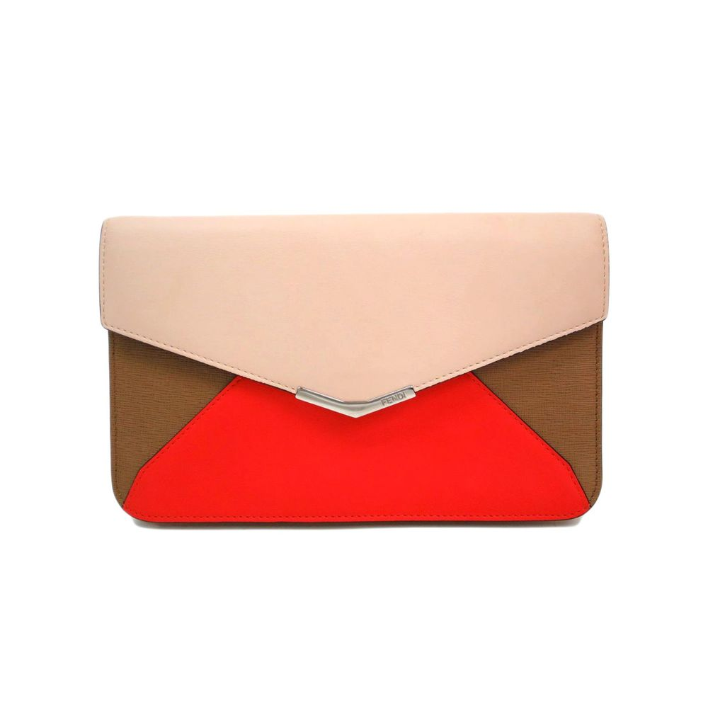 Fendi to joule clutch bag calfskin pale orange / coral / brown 8M0311
