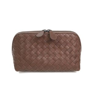 BOTTEGA VENETA Pouch Intrecciato Calfskin Light Brown