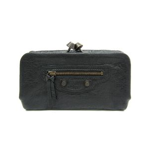BALENCIAGA Clutch Bag Calfskin Black 272435