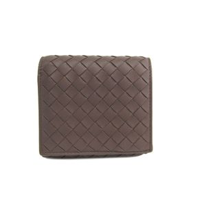 BOTTEGA VENETA Bifold Wallet Intrecciato Lambskin Brown