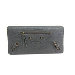 BALENCIAGA Classic Money Checkbook Wallet Calfskin Gray 253038