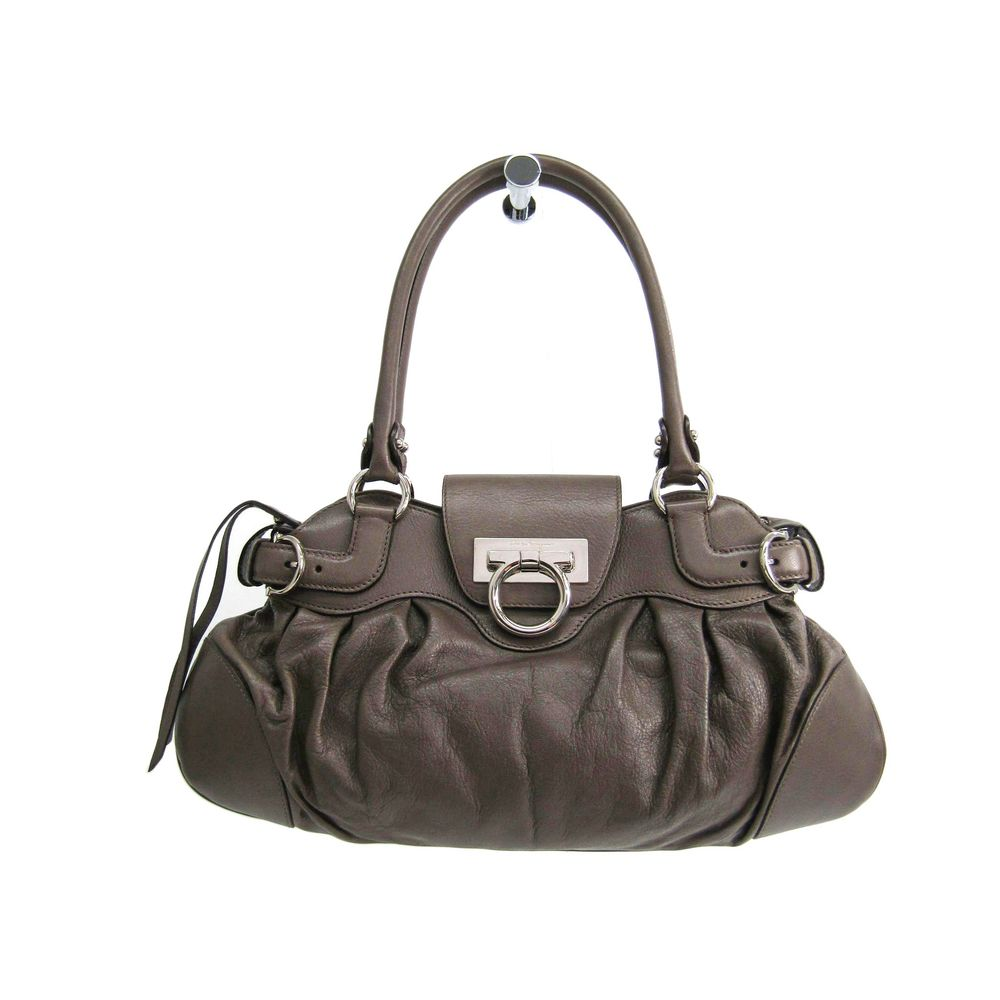 Ferragamo Hand bag Gancini Leather Greige AU-21 6317