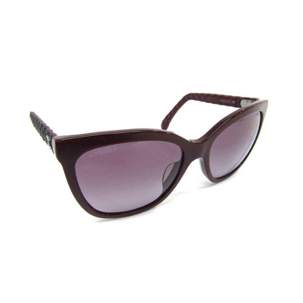 CHANEL Sunglasses Plastic/Leather Bordeaux/Black 5288-Q-A