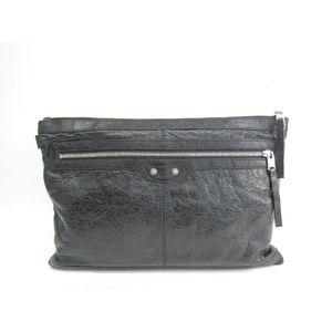 BALENCIAGA Classic Clip L Clutch Bag Lambskin Black 273023