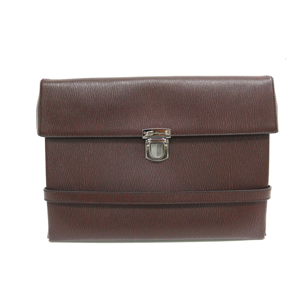 Salvatore Ferragamo Briefcase Embossed Calfskin Brown FZ-24 0178