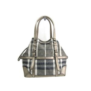 Burberry Tote Bag Canvas/Leather Gray/Metallic Beige