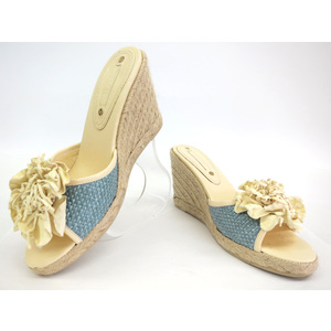 CELINE SANDAL STRAW/HEMP LIGHT BLUE/LIGHT YELLOW 37
