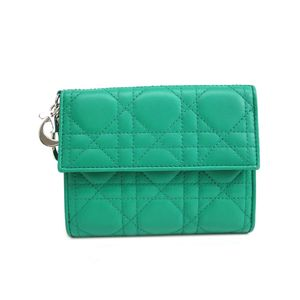 Dior Wallet with Charm Canage/Lady Dior Lambskin Green/Silver