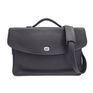 COACH Brief Case/Business Bag Leather Black/Silver 5265
