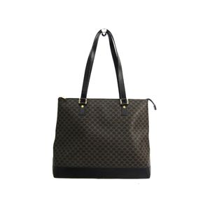 CELINE Shoulder Bag Macadam PVC/Leather Black/Gold