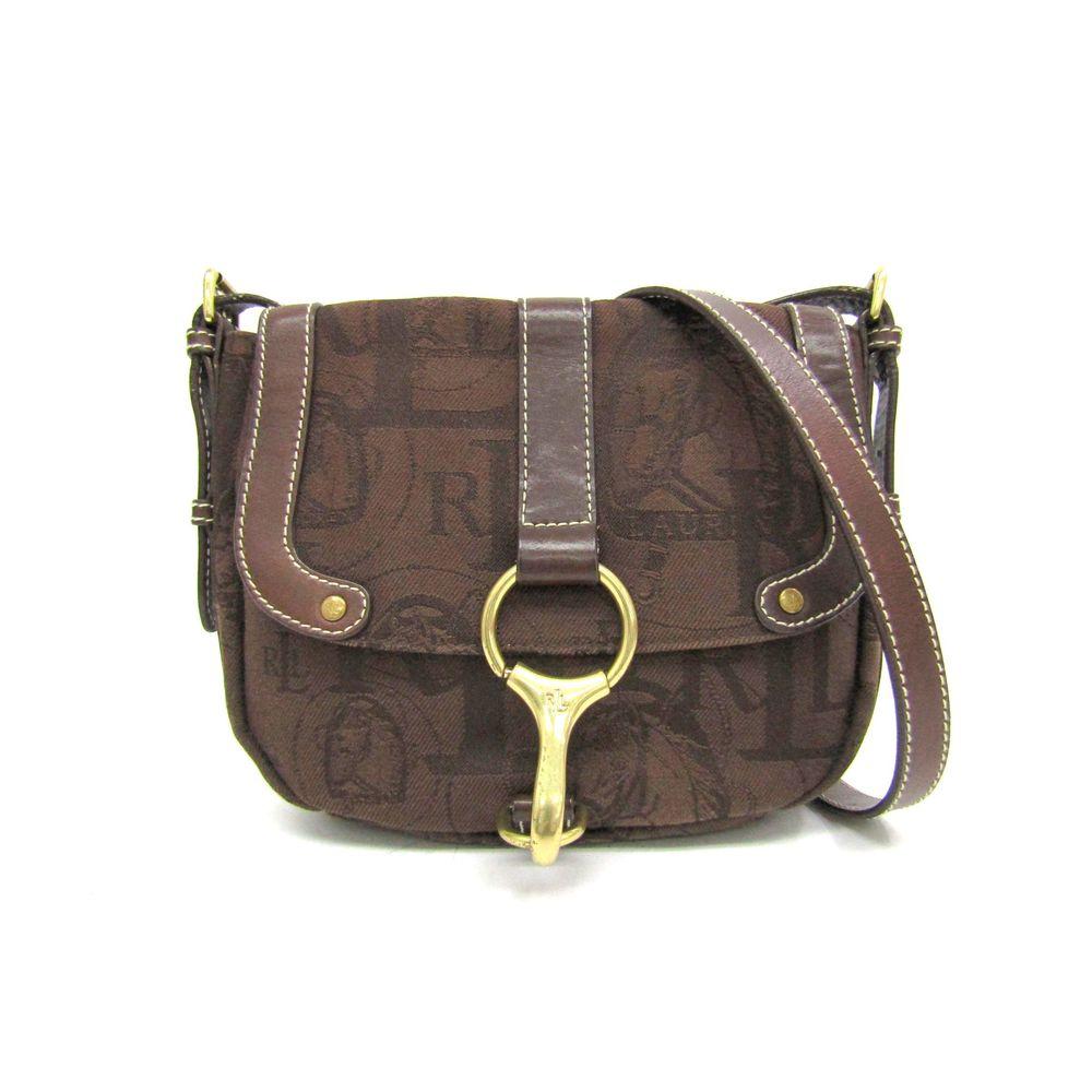 1a030e731e Lauren Ralph Lauren Shoulder Bag Logo/Horse motif Canvas Brown ...