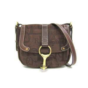 Lauren Ralph Lauren Shoulder Bag Logo/Horse motif Canvas Brown