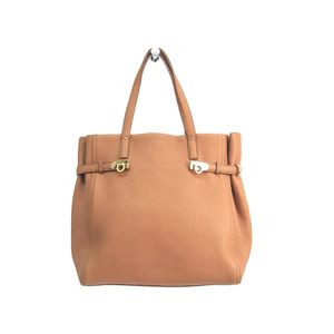 Ferragamo Tote Bag Gancini Calfskin Light brown EE-21 F018