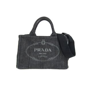 PRADA Canapa Tote Bag Denim Canvas NEROBlack 1BG439