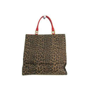 FENDI Tote Bag Leopard Pattern Canvas/Leather Brown/Red 261910
