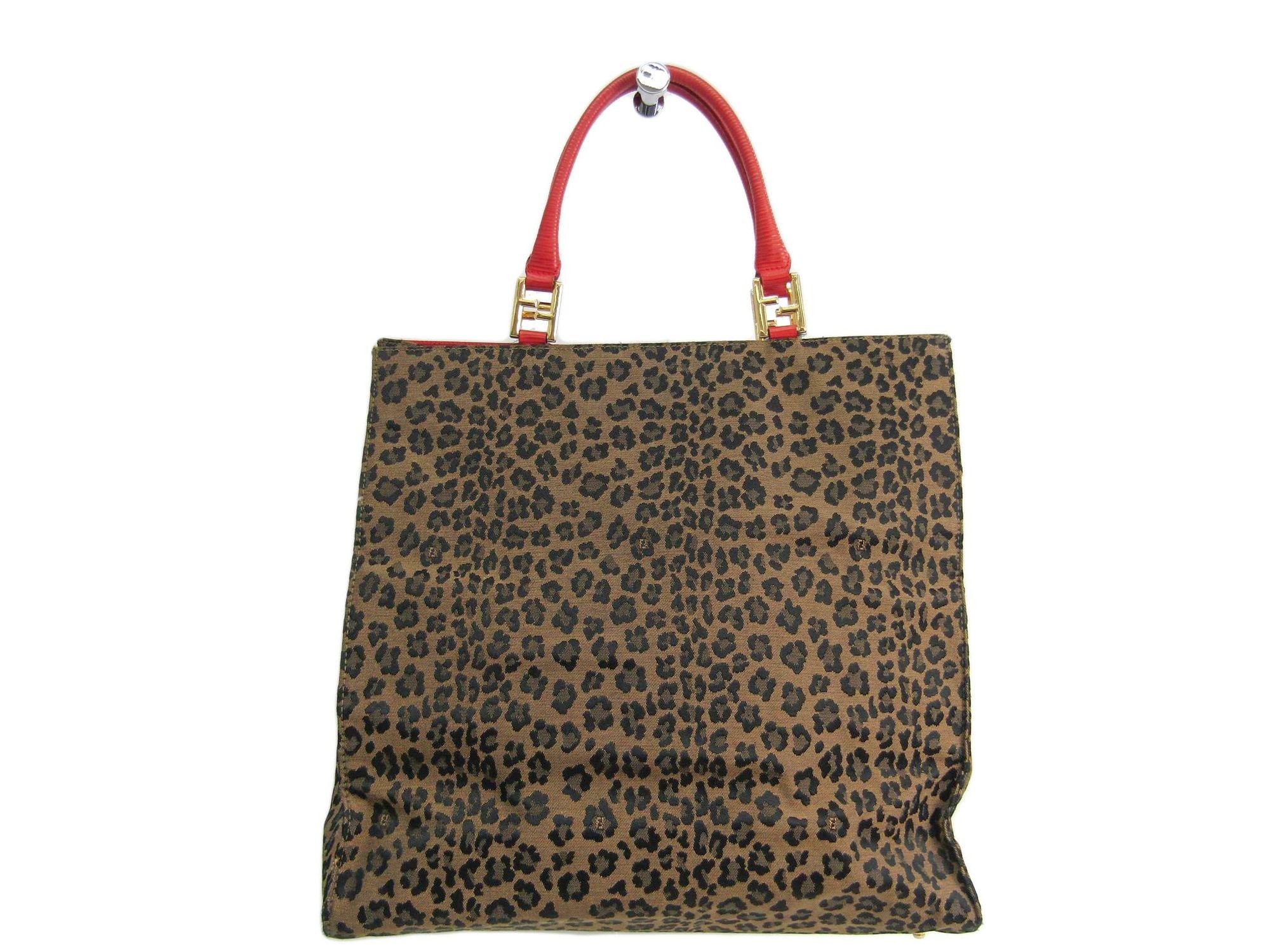 25e573525c Fendi Tote Bag Leopard Canvas   Leather Beige   Red 261910 BF302455 ...