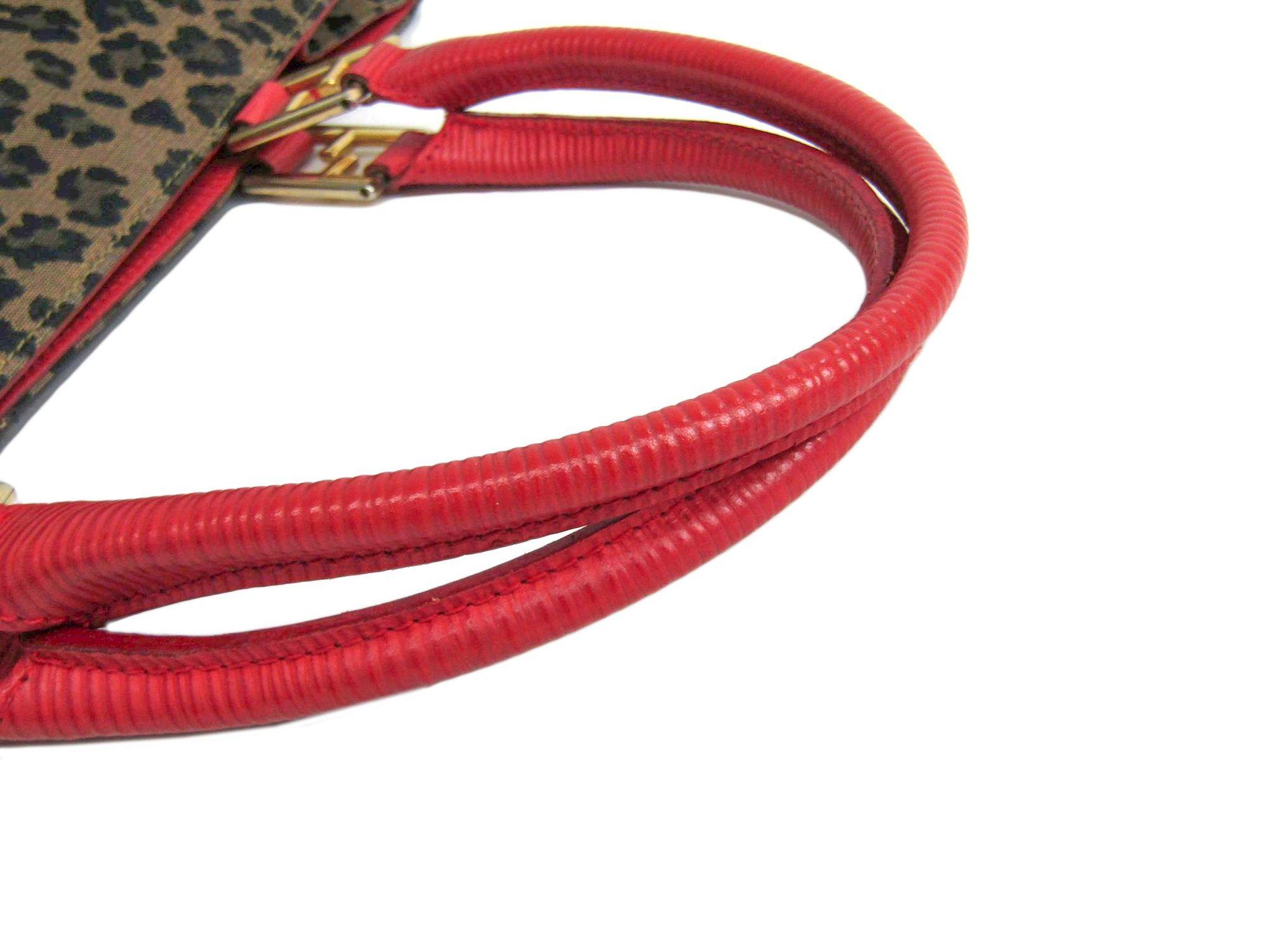 a31b663b6d Fendi Tote Bag Leopard Canvas   Leather Beige   Red 261910 BF302455 ...
