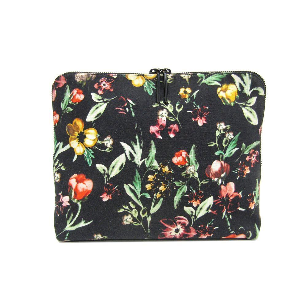 Phillip Lim Clutch Bag Flower Canvas/Leather Black