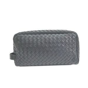 BOTTEGA VENETA Toiletry Case Intrecciato Calf Leather Nero 244706
