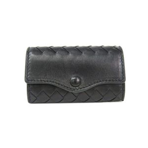 BOTTEGA VENETA 5 Ring Key Case Intrecciato Lambskin Black