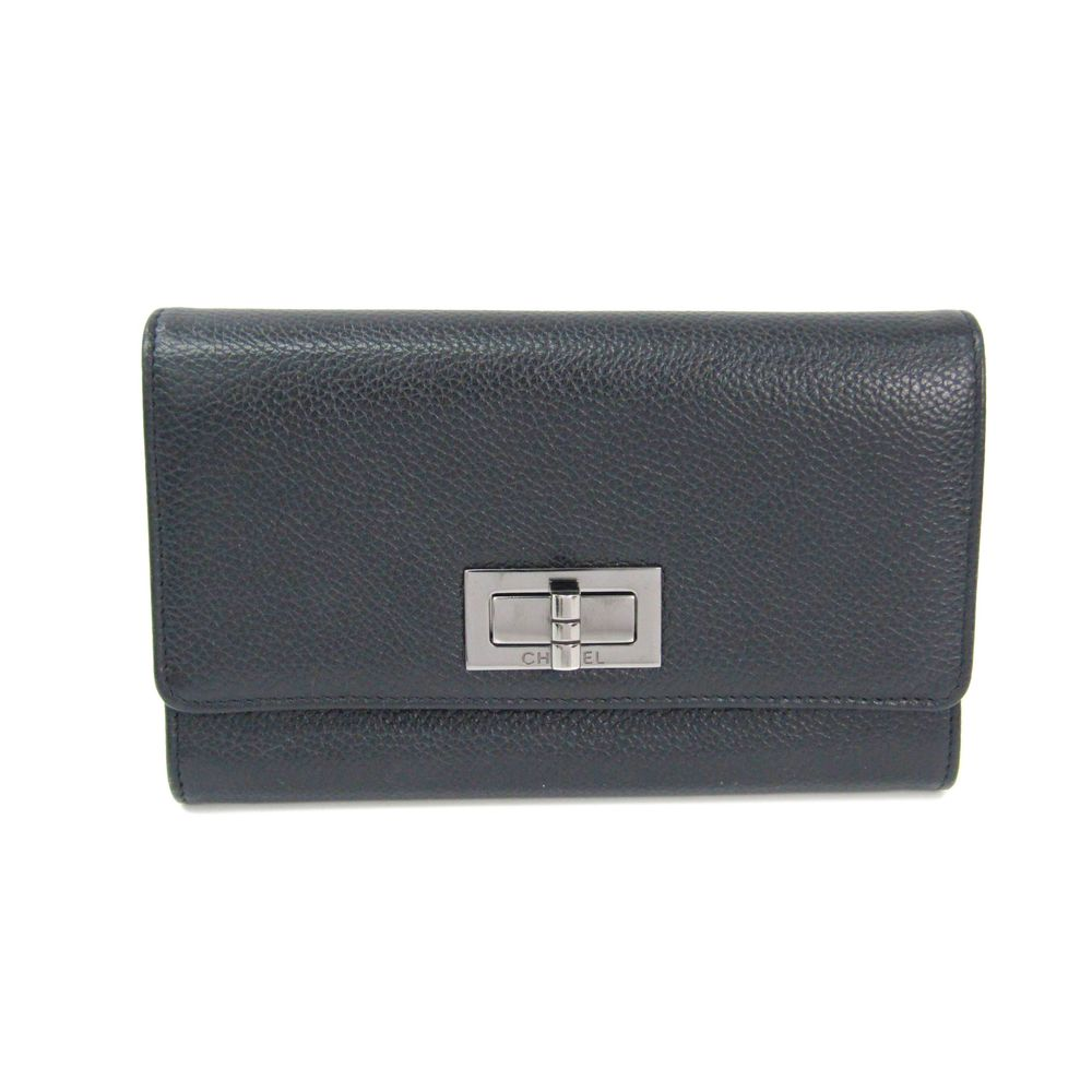 CHANEL 2.55 Bifold Middle Wallet Calfskin Leather Black/Silver