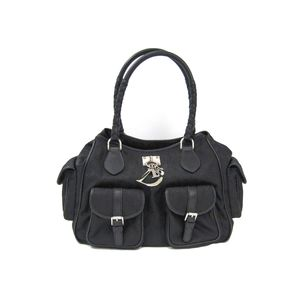 Dior Canage Hand bag Lovely Nylon Canvas/Leather Black NLC44164