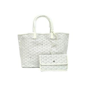 GOYARD Saint Louis PM Tote Bag Canvas/Leather White