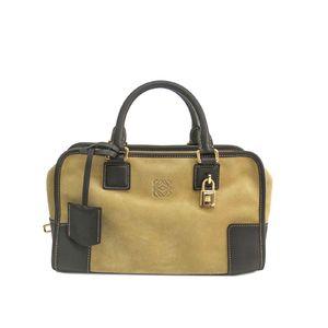LOEWE Amazona 28 Hand bag Suede/Calfskin Beige/Brown 339.61.A03