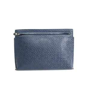 LOEWE T Pouch Repeat Engraved Calf Leather Navy 107.55.K05