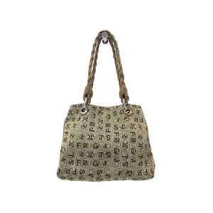 Ferragamo Hand bag Logo Canvas/Leather Beige/Brown GC-21 8479