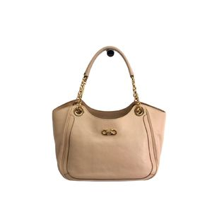 Salvatore Ferragamo Hand bag Gancini Calfskin Pale Pink AU-21 B992