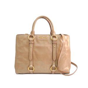 MIU MIU Hand bag VITELLO SHINE CAMMEO RN1037