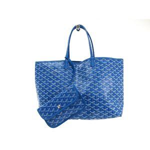 ゴヤール サンルイPM トートバッグ キャンバス/レザー ブルー